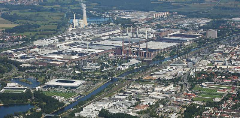 a view of a city: VW's Wolfsburg facilities are reducing their carbon footprint