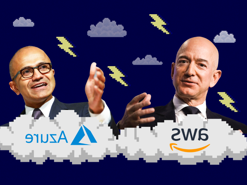 Jeff Bezos, Satya Nadella are posing for a picture