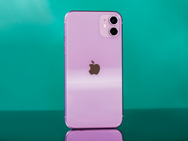 screen of a cell phone: The iPhone 11 in purple.