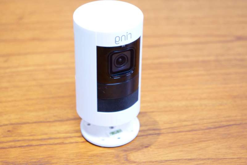 The Ring Stickup camera. (GeekWire Photo / Nat Levy)