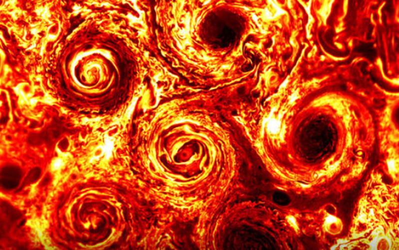 a close up of a bright light: A group of cyclones on Jupiter have a new addition. NASA