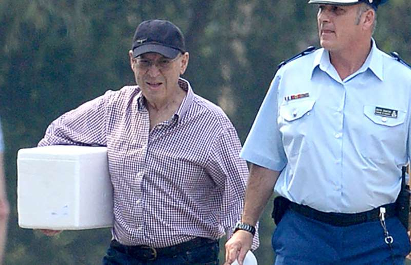Former NSW mining minister Eddie Obeid walks from prison with his belongings three years after he was jailed for misconduct in public office, Silverwater Correctional Complex, Sydney.