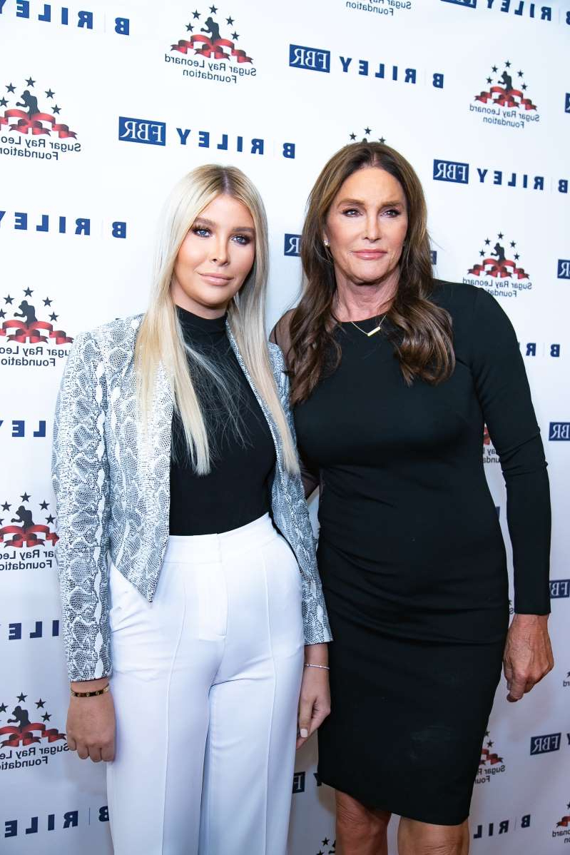 Caitlyn Jenner et al. posing for a picture: Caitlyn Jenner and Sophia Hutchins attend Sugar Ray Leonard Foundation's 10th Annual 'Big Fighters, Big Cause' Charity Boxing Night in Beverly Hills, California, on May 22, 2019.