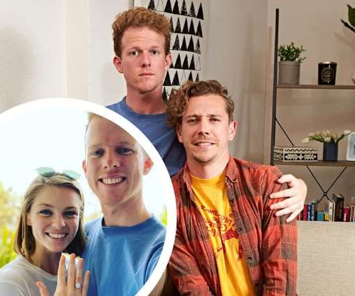 Anna Nalick et al. posing for the camera: Gogglebox Australia fan-favourite Adam Densten has just proposed to his girlfriend of three years, Rachel Falconer. The newly engaged couple confirmed the news  on Adam's Instagram account.