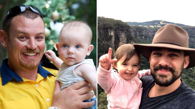 a man holding a baby: Sydney dads Geoffrey Keaton and Andrew O'Dwyer were killed when a fire truck rolled as they fought bushfires in NSW.