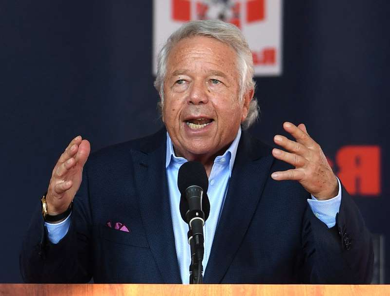 Robert Kraft wearing a suit and tie: FOXBORO, MA - JULY 29: New England Patriots owner Robert Kraft speaks the 2019 Patriots Hall of Fame Induction Ceremonies for Rodney Harrison and Leon Gray at Gillette Stadium in Foxboro, Massachusetts home on July 29, 2019. (Staff Photo By Christopher Evans/MediaNews Group/Boston Herald)