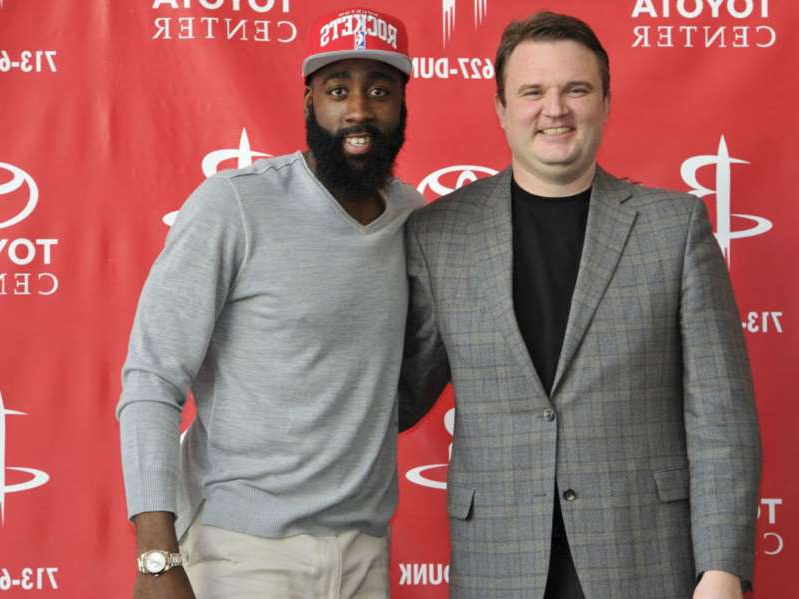 Daryl Morey, James Harden are posing for a picture