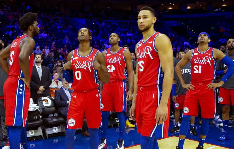 Ben Simmons, Al Horford are posing for a picture: The 76ers are looking up in the Eastern Conference standings. (Mitchell Leff/Getty Images)