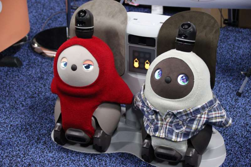 a group of stuffed animals sitting on top of a table: The cute little Lovlot robots in their charging stations. (GeekWire Photo / Taylor Soper)