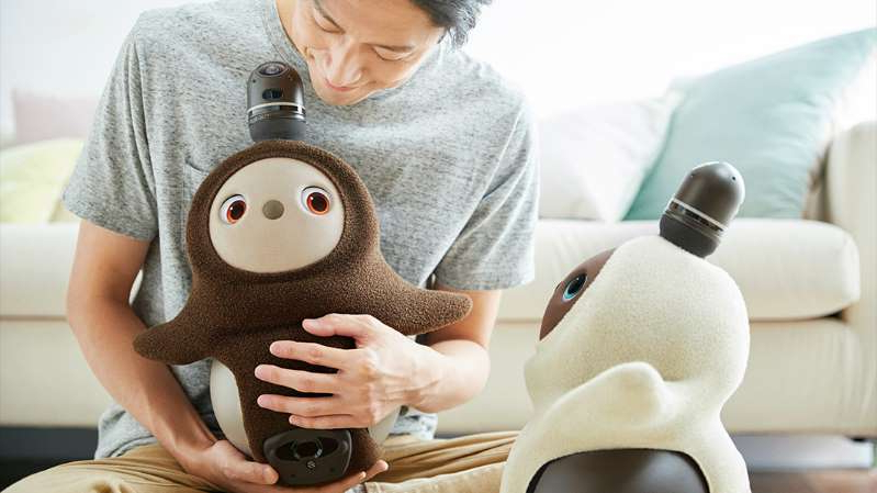 a person sitting at a table in front of a stuffed animal: Groove X's lovable robot companion Lovot is now available in Japan.