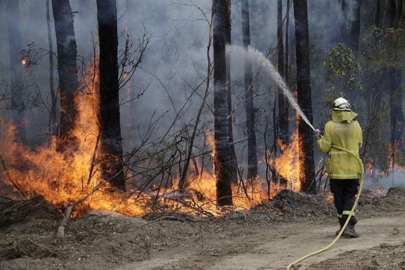 A firefighter manages a controlled burn near Tomerong, Australia, Wednesday, Jan. 8, 2020, in an effort to contain a larger fire nearby. Around 2,300 firefighters in New South Wales state were making the most of relatively benign conditions by frantically consolidating containment lines around more than 110 blazes and patrolling for lightning strikes, state Rural Fire Service Commissioner Shane Fitzsimmons said.