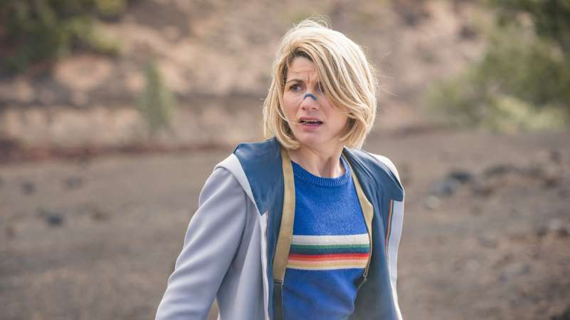 Jodie Whittaker wearing a blue shirt: Jodie Whittaker in Doctor Who series 12 episode 3, Orphan 55