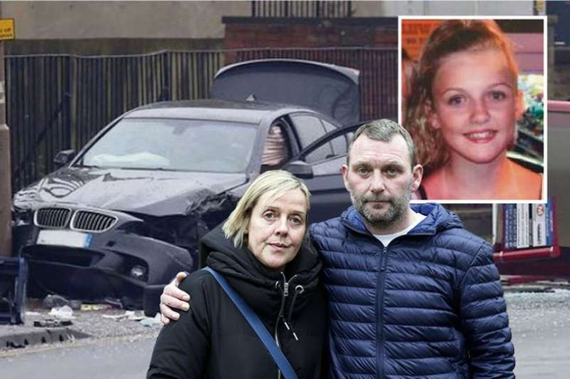 a man and woman taking a selfie in a car posing for the camera: Colin Dawson, 47, and wife Angela, 50, have been campaigning for Richard Brooke to be prosecuted after his BMW fatally injured 15-year-old Katelyn in a crash