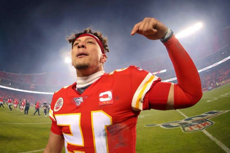 a man wearing a red hat: Patrick Mahomes has a chance to break Kansas City's long Super Bowl drought. (Photo by Tom Pennington/Getty Images)