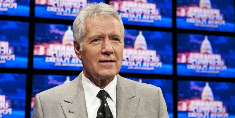 Alex Trebek wearing a suit and tie: Alex Trebek speaks during a rehearsal before a taping of Jeopardy!