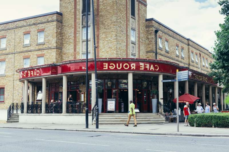London, UK - July 23, 2018: Cafe Rouge Greenwich is a local bistro with lovely outdoor dining terrace and a porch