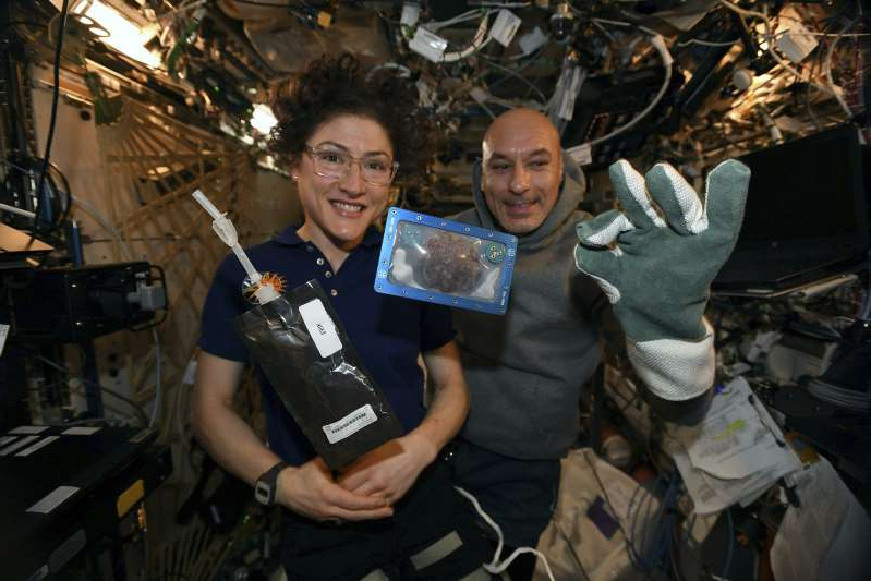 Luca Parmitano, Christina Hammock are posing for a picture: space-baked cookies