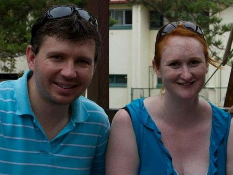 a couple of people posing for the camera: Tanya Woodgate with her husband Christopher who died on an Air Canada flight from Vancouver to Brisbane on Jan. 11, 2020. [PNG Merlin Archive]