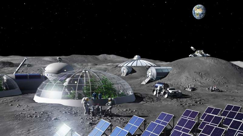 Artist's conception of a future Moon base. (Image: ESA/P. Carril)