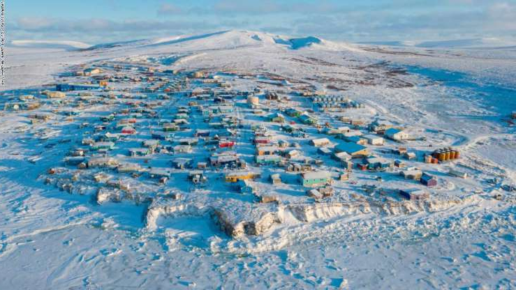 a beach covered in snow: The first count of the 2020 census will begin in Toksook Bay, Alaska, on January 21.