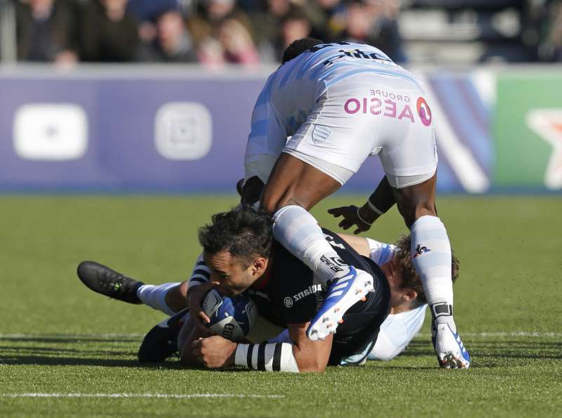 The tackle that saw Billy Vunipola sustain a suspected broken arm