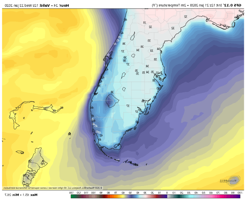 a close up of a map: The American GFS model depicts anticipated temperatures in the 30s and 40s across South Florida early Wednesday morning. (Weatherbell)
