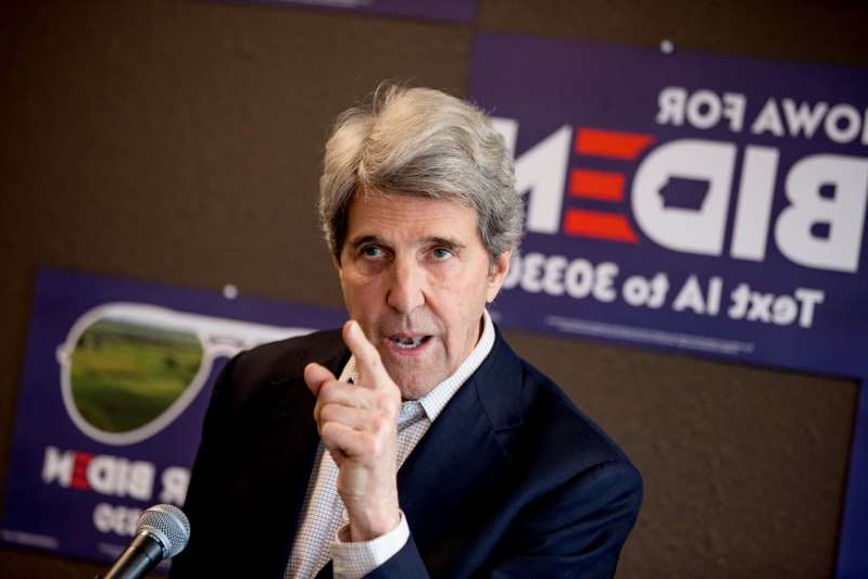 FILE - In this Jan. 9, 2020, file photo, former Secretary of State John Kerry speaks at a campaign stop to support Democratic presidential candidate former Vice President Joe Biden at the Biden for President Fort Dodge Office in Fort Dodge, Iowa. (AP Photo/Andrew Harnik, File)