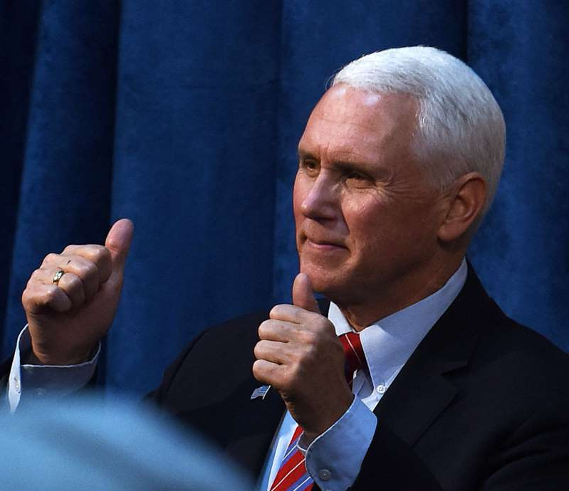 JANUARY 16 2020: U.S. Vice President Mike Pence gives a thumbs up.