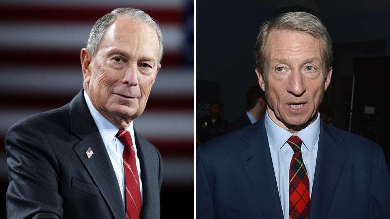 Tom Steyer, Michael Bloomberg are posing for a picture: Bloomberg, Steyer focus on climate change in effort to stand out
