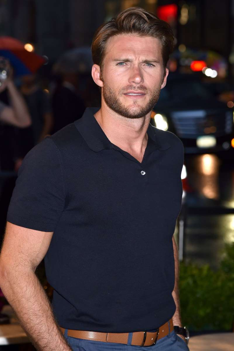 Scott Eastwood looking at the camera: Scott Eastwood attends the Longchamp Fifth Avenue store opening in New York City on May 3, 2018.