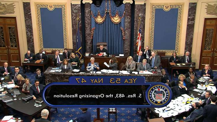 Slide 1 of 59: In this image from video, the vote for passage approving the rules for the impeachment trial against President Donald Trump in the Senate at the U.S. Capitol in Washington, Wednesday, Jan. 22, 2020 is displayed. Senate resolution 483 passed along a party-line vote of 53-47.