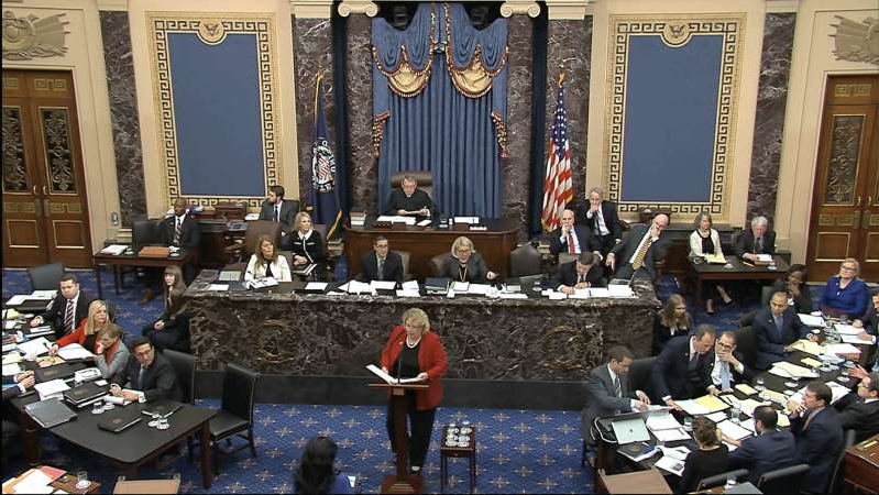 In this image from video, House impeachment manager Rep. Zoe Lofgren, D-Calif., speaks during the impeachment trial against President Donald Trump in the Senate at the U.S. Capitol in Washington, Wednesday, Jan. 22, 2020. (Senate Television via AP)
