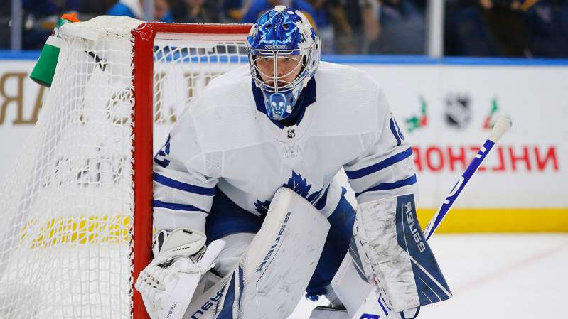 a person skiing on the snow: Frederik-Andersen-Toronto-Maple-Leafs-NHL-All-Star