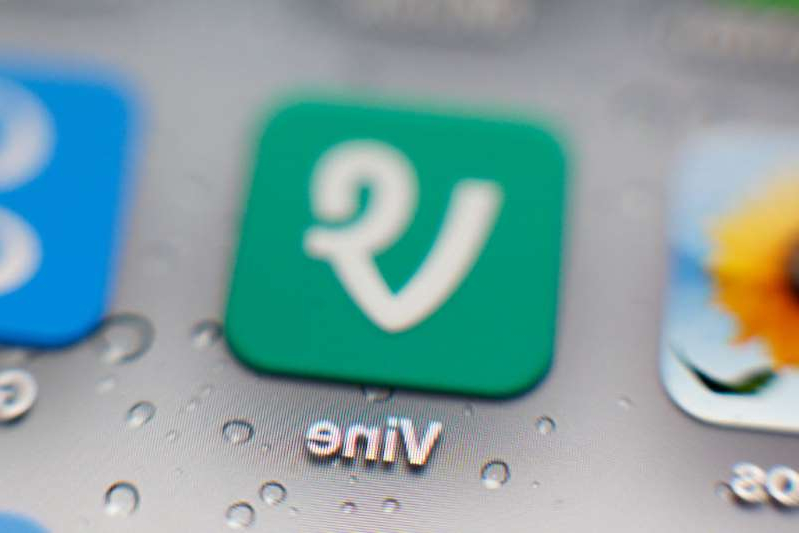 a close up of a device: An undated photo of the Twitter Vine iPhone mobile app icon.