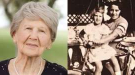 a woman smiling and posing for a photo: Left: Eva Gelbman with her sister Margit Sapsowtiz (right) in 1916. Right: A recent photo of Eva, now 91 years old.
