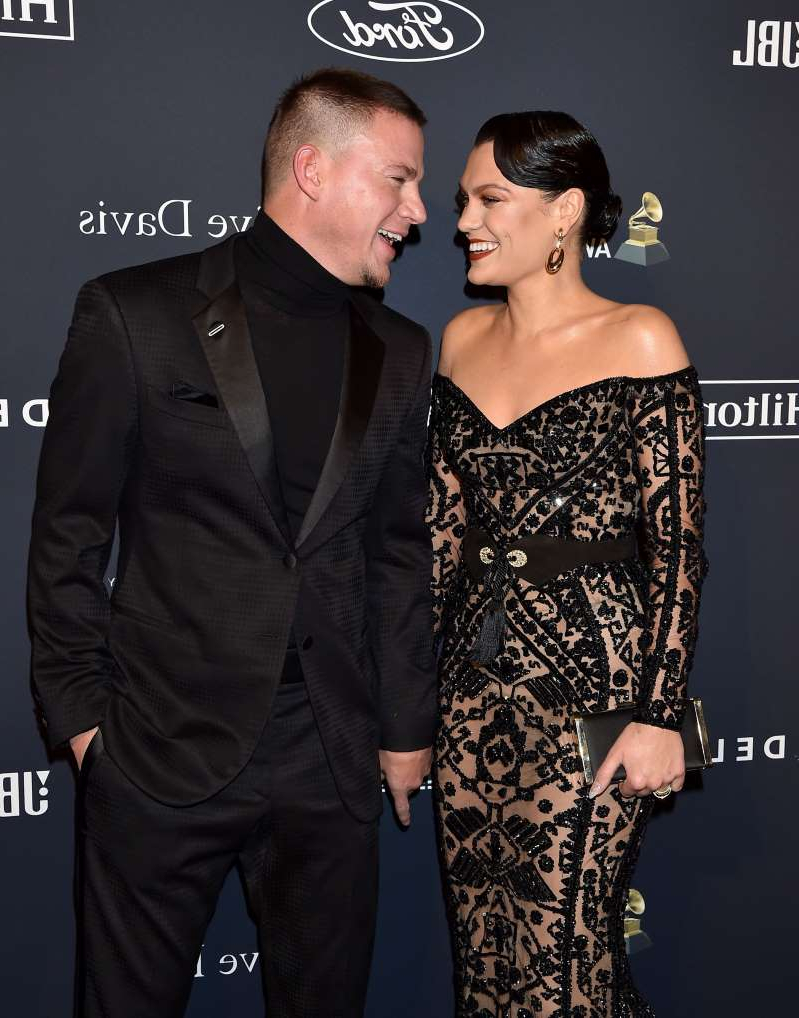 Jessie J standing posing for the camera:  Jessie J and Channing Tatum attend the Pre-GRAMMY Gala and GRAMMY Salute to Industry Icons Honoring Sean