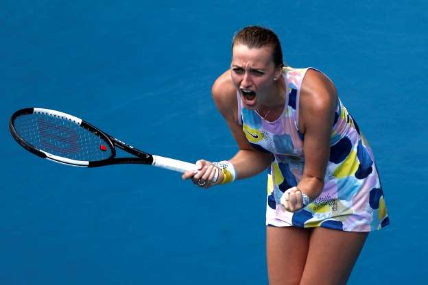 Petra Kvitova holding a racket on a court: Tennis - Australian Open - Fourth Round