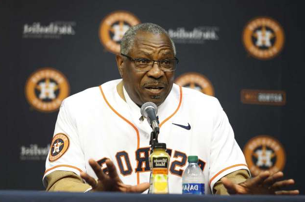 Slide 1 of 38: PHOTOS: Astros introduce new manager Dusty Baker  Dusty Baker speaks to the media, after being introduced by owner Jim Crane, as the Houston Astros new manager at Minute Maid Park, in Houston, Thursday, Jan. 30, 2020. >>>See photos from the introductory press conference of the Astros' new manager ...