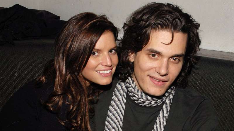 John Mayer, Jessica Simpson posing for the camera