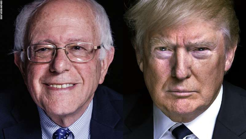 Donald Trump, Bernie Sanders are posing for a picture
