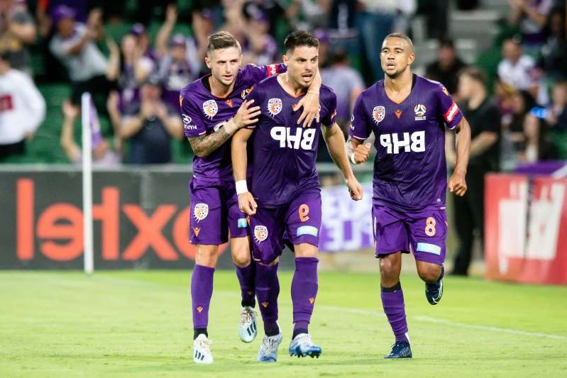 PERTH, AUSTRALIA - FEBRUARY 01: Perth Glory Forward Bruno Fornaroli (9) celebrates his goal during the round 17 A-League soccer match between Perth Glory and Melbourne Victory on February 01, 2020 at HBF Park in Perth, Australia. (Photo by Speed Media/Icon Sportswire via Getty Images)