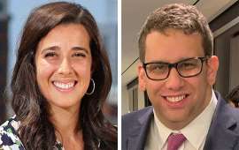 a man and woman posing for the camera: Adam Alonso, chief of staff to the 2020 DNC Host Committeee, left, and Liz Gilbert, the committee president, right
