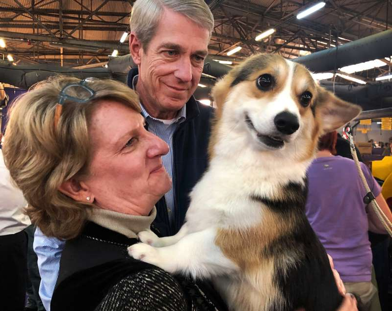 a man holding a dog posing for the camera: Sean Sullivan stands with his wife, Ann Sullivan, as she holds their award-winning Welsh corgi, Dolly. Dolly participated in the 2020 Westminster dog show on Sunday. (Photo by Michael Brice-Saddler/The Washington Post)