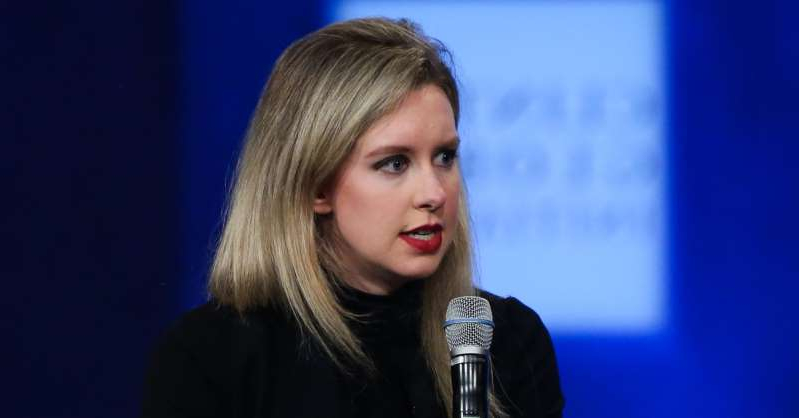 Elizabeth Holmes wearing a blue shirt: Theranos CEO Elizabeth Holmes speaking at the 2015 Clinton Global Initiative in New York on Sept. 29, 2015.