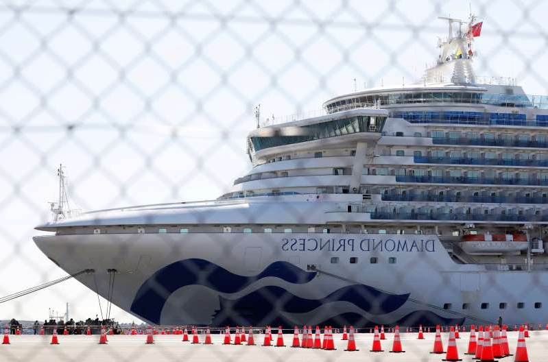 a large ship in the background: FILE PHOTO: The cruise ship Diamond Princess, where dozens of passengers were tested positive for coronavirus, is seen through steel fence at Daikoku Pier Cruise Terminal in Yokohama