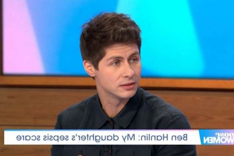 a man sitting in front of a flat screen television: Ben told the Loose Women panel about the