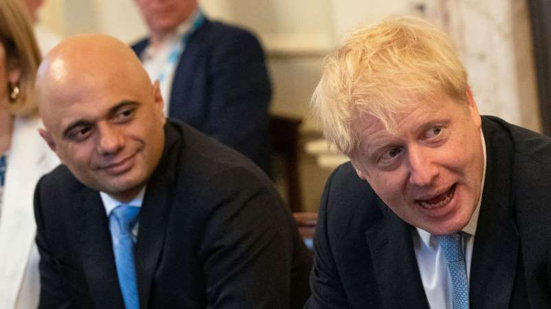 Boris Johnson, Sajid Javid are posing for a picture: Sajid Javid with Boris Johnson at the PM's first cabinet meeting back in July