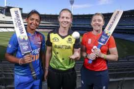 Heather Knight, Harmanpreet Kaur are posing for a picture: Captains Heather Knight of Great Britain, Meg Lanning of Australia and Harmanpreet Kaur of India.