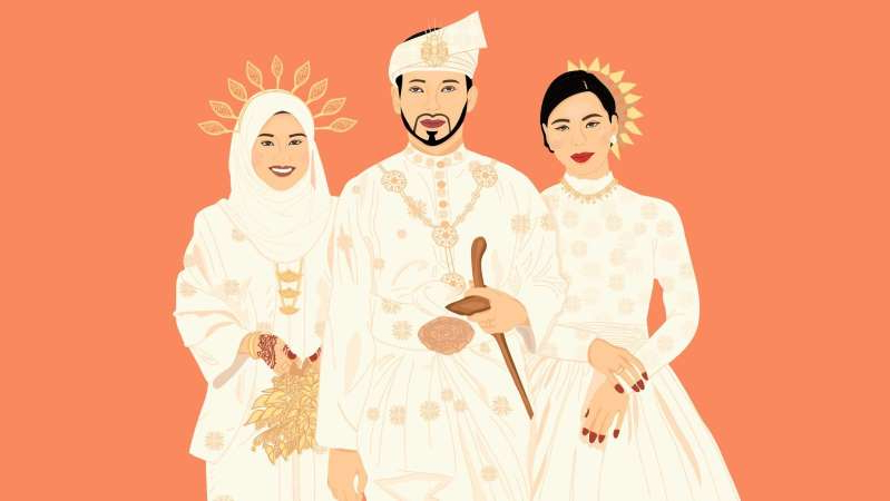 a close up of text on a white background: Muslim men in Malaysia can have up to four wives, and though the practice isn't widespread, it is alive. (ABC RN: Nashrin Alhady)