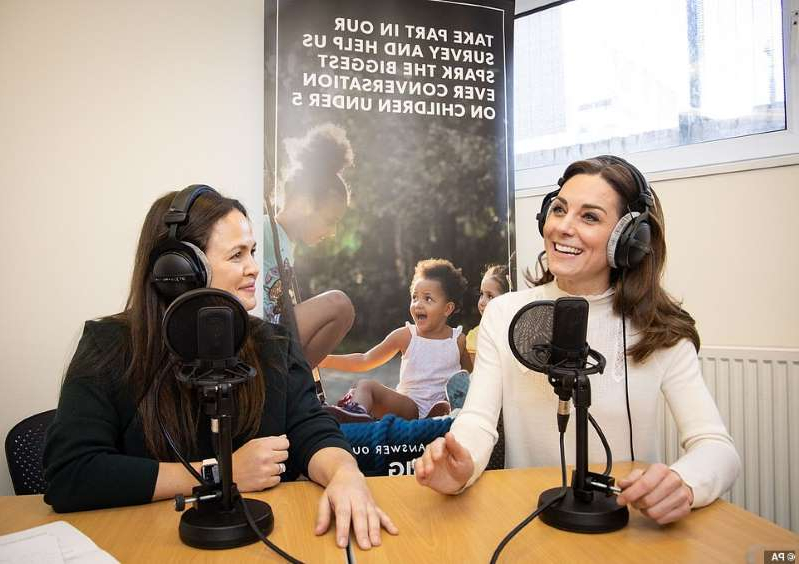 Claudette Mink sitting on a table: Kate Middleton, 38, will feature on Giovanna Fletcher's Happy Mum, Happy Baby podcast on Saturday, where she discusses the Early Years and her landmark survey '5 Big Questions on the Under Fives. Pictured together